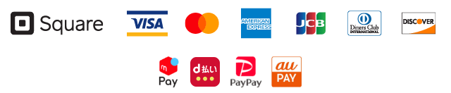 VISA、Mastercard、American Express、JCB、Diners Club、Discover、メルペイ、D払い、PayPay、auペイ